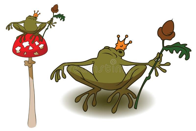 Rã da princesa no amanita do cogumelo ilustração do vetor