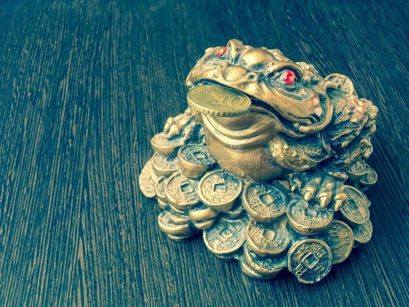 Rã do dinheiro em uma tabela de madeira com uma moeda em sua boca imagem de stock