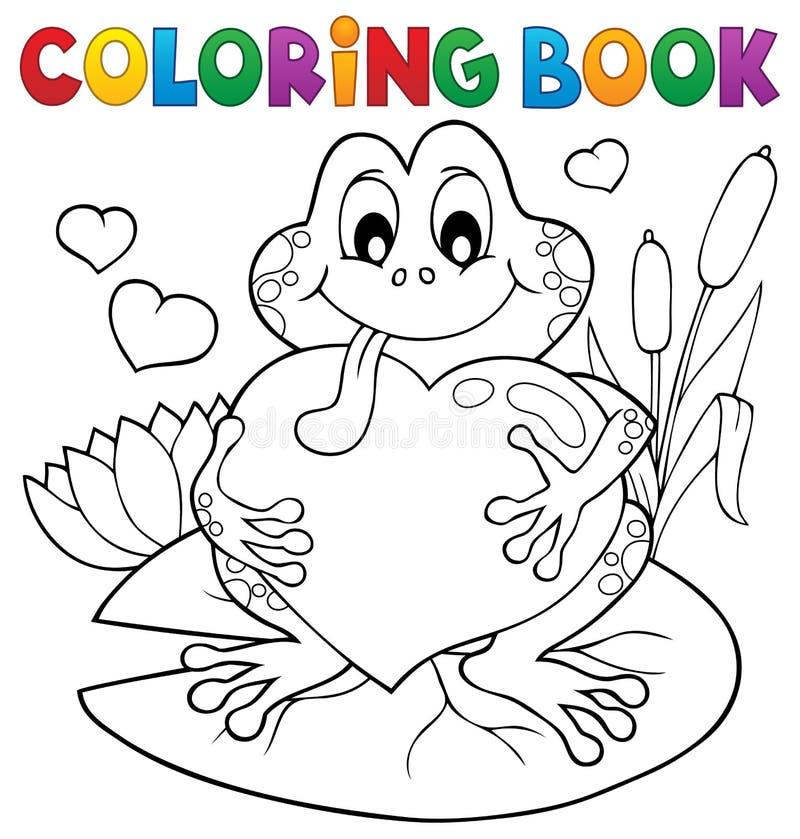 Rã do Valentim do livro para colorir ilustração stock