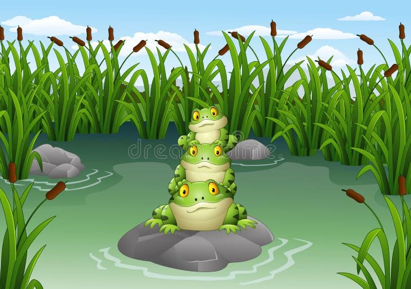 Rã dos desenhos animados empilhada na lagoa ilustração royalty free