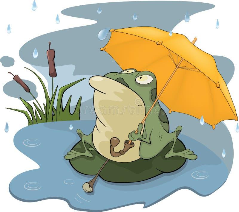 Rã e uns desenhos animados da chuva ilustração do vetor
