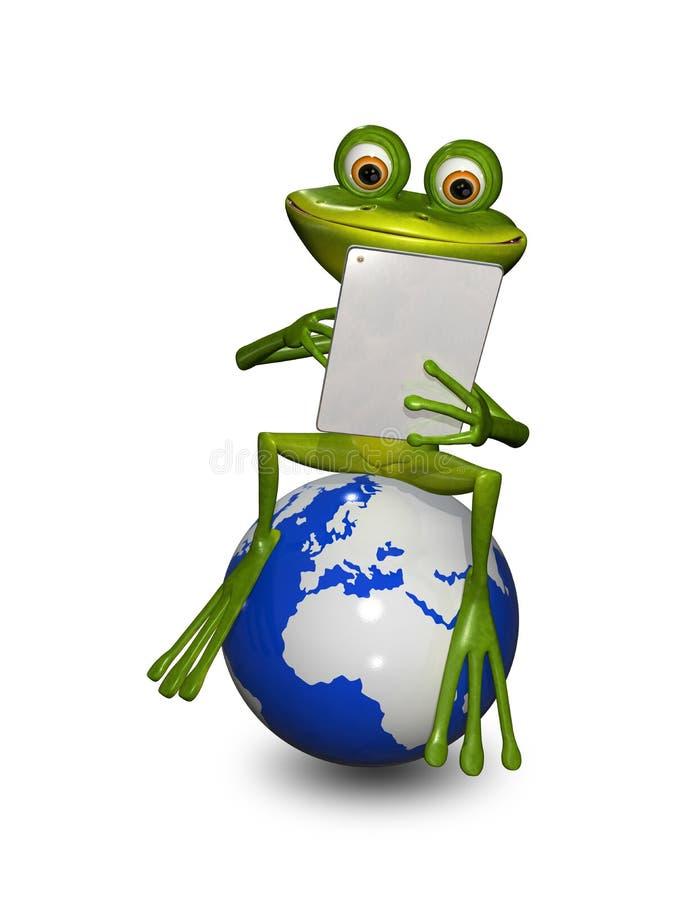 Rã em um globo com a tabuleta ilustração do vetor