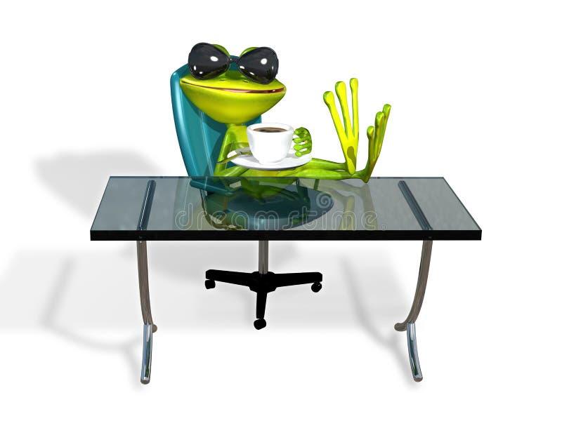 Rã em uma tabela com café ilustração royalty free