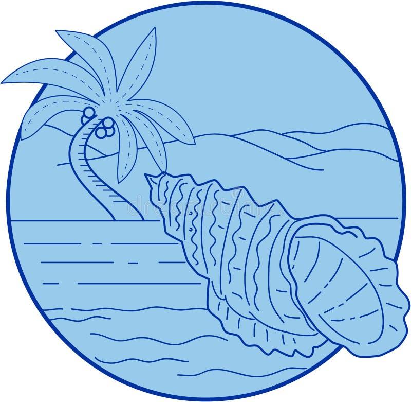 Rã gigante Shell Beach Palm Tree Circle retro ilustração royalty free