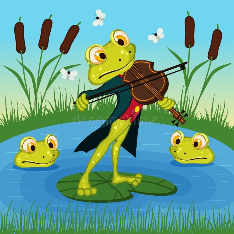 A rã joga o violino ilustração do vetor
