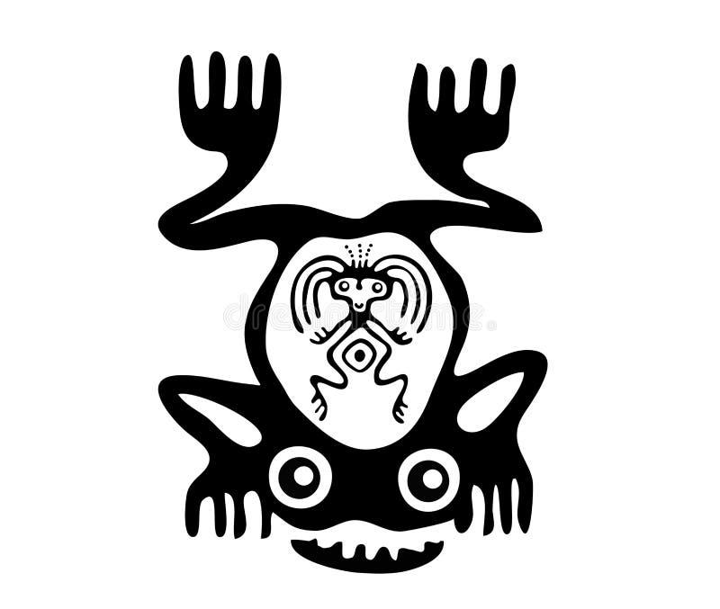 Rã no estilo do Maya ilustração do vetor