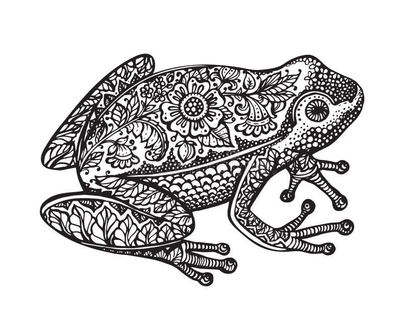 Rã ornamentado preto e branco da garatuja no estilo gráfico ilustração do vetor