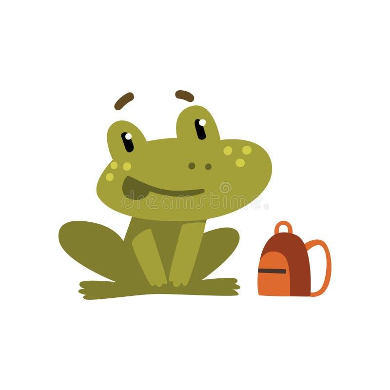 Rã pequena bonito, ilustração animal anfíbia engraçada do vetor do conceito do personagem de banda desenhada, da educação escolar ilustração do vetor