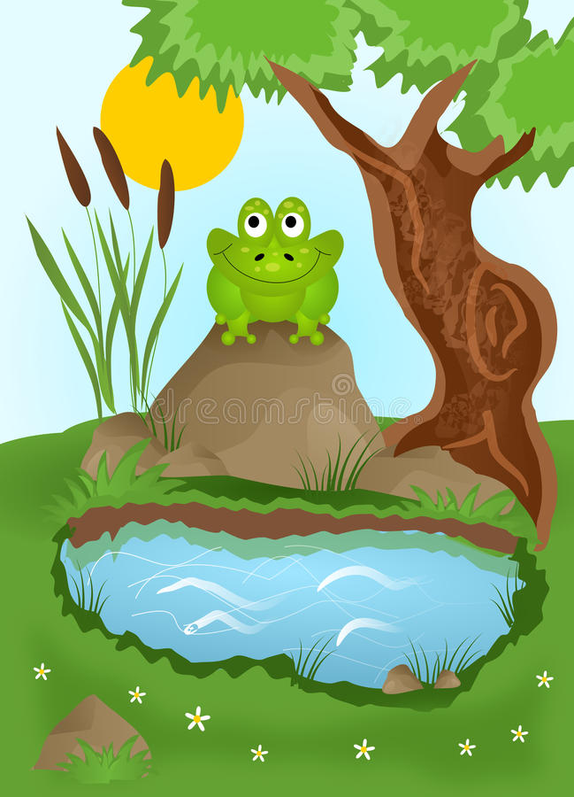 Rã que senta-se pela lagoa ilustração stock