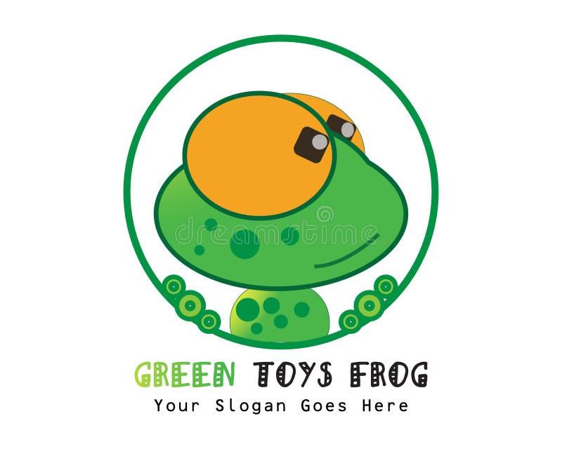 A rã verde brinca o illsutration de surpresa do projeto liso do logotipo ilustração do vetor