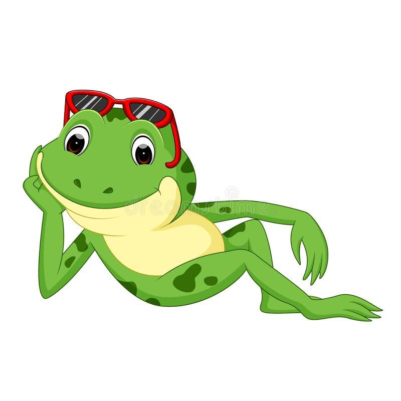 Rã verde com sorriso feliz ilustração stock