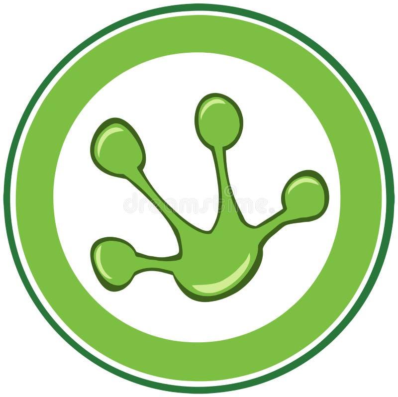 Rã verde Paw Print Banner ilustração stock
