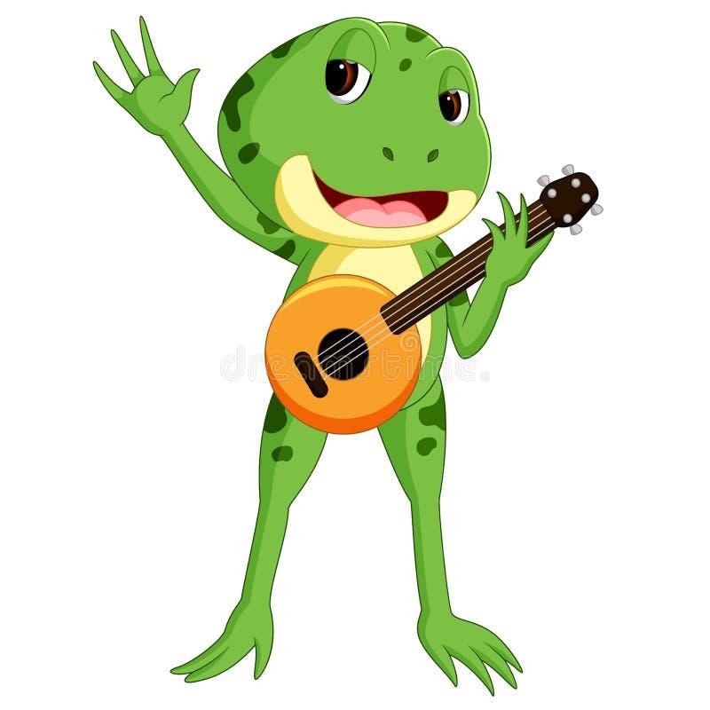 Rã verde que joga a guitarra ilustração royalty free
