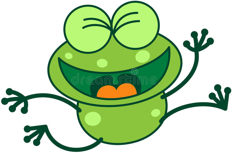 Rã verde que salta e que comemora ilustração do vetor