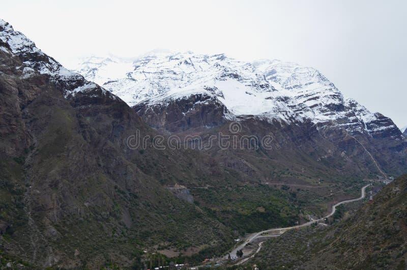 RÃo Blanco Krajowa rezerwa, środkowy Chile, wysoka różnorodności biologicznej dolina w Los Andes obrazy royalty free