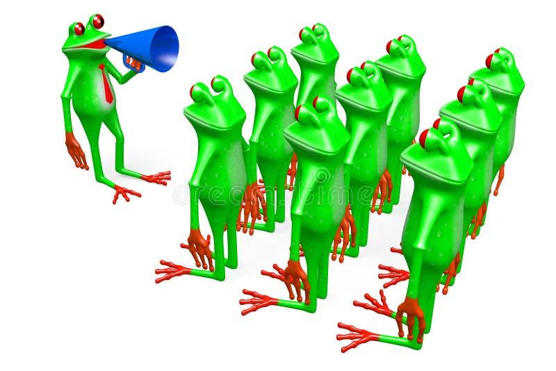 rãs dos desenhos animados 3D - conceito da reunião ilustração stock