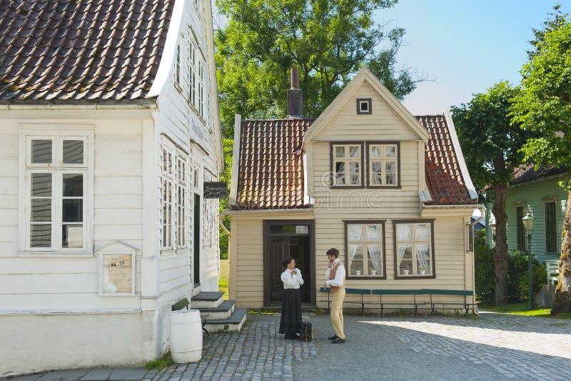Ręczny druk w Gamle Bergen Starym muzeum obraz royalty free