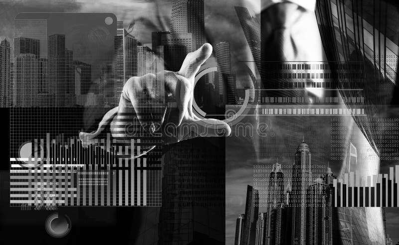 Ręka antrakta wirtualnego pokazu biznesowa grafika Tworzy wirtualnego portfel Górniczy wirtualny pieniądze Rozwiązuje blok zarabi zdjęcia stock