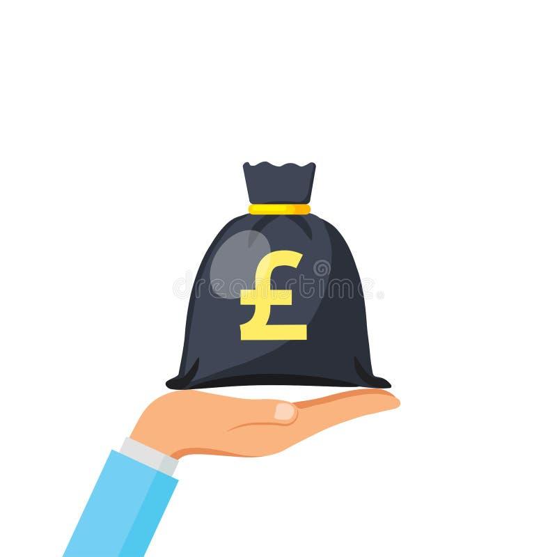 Ręka chwyta pieniądze torby ikona, moneybag prosta kreskówka z złocistym drawstring i Brytyjski Funtowego szterlinga znak odizolo ilustracja wektor