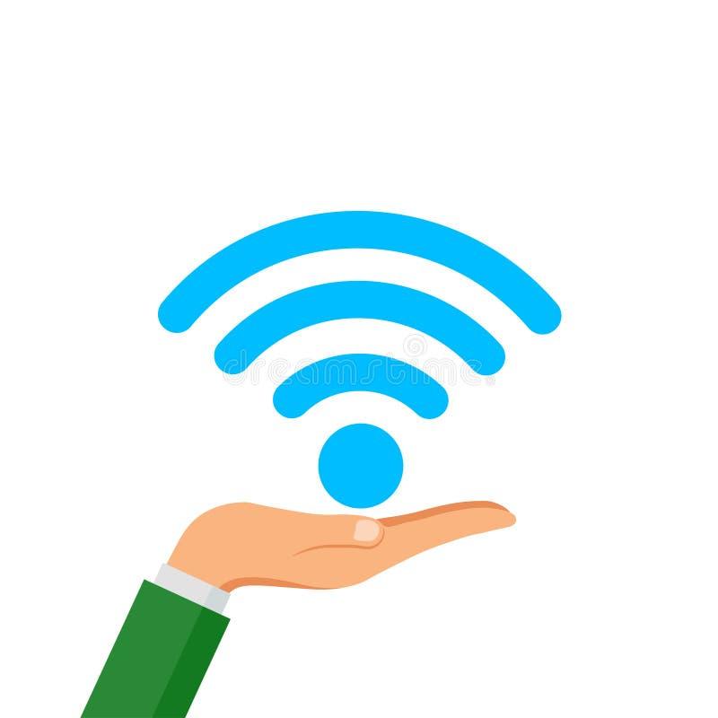 Ręka chwyta WiFi bezpłatna ikona odizolowywająca na białym tle Bezprzewodowy połączenia z internetem pojęcie Sieć logo Wektorowy  ilustracja wektor