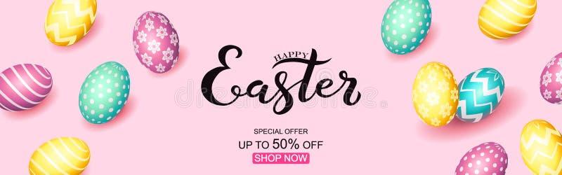 Ręka kreślił Szczęśliwego Wielkanocnego tekst, sprzedaży etykietka Wręcza patroszonego Wielkanocnego sprzedaży oferty specjalnej  ilustracji
