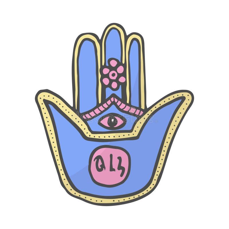Ręka Miriam, koloru doodle hamsa ręki boski ochrona od złego oka symbol, ręka rysująca kolor ilustracja ilustracji