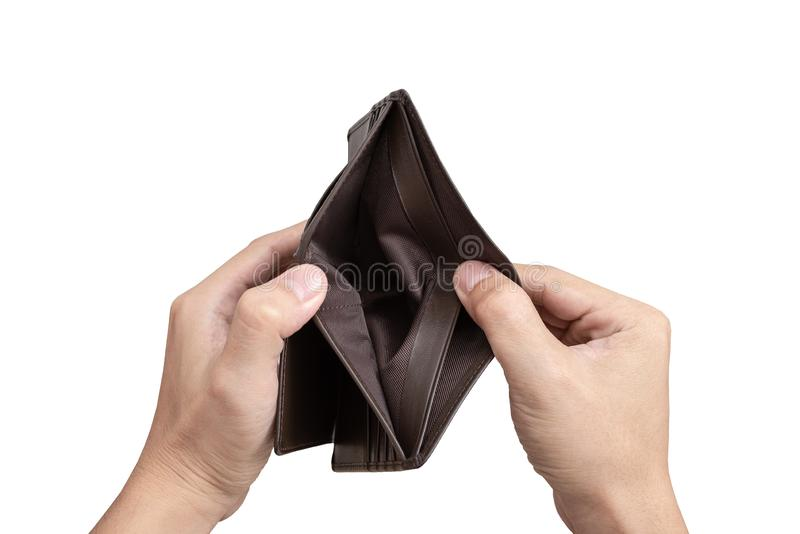 Ręka otwarty pusty portfel zdjęcie royalty free