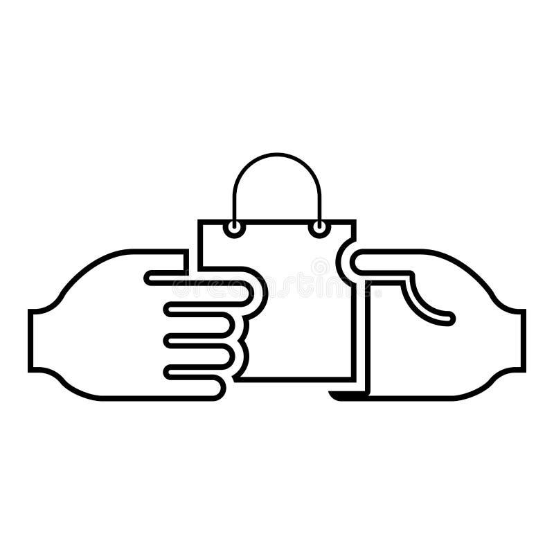 Ręka przechodzi pakunek inna ręki ręki przepustki torba inna ręki pojęcia handlu pomysłu handlu rynku tematu Marketingowa ikona ilustracji