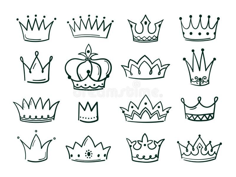 Ręka rysująca korona Nakreślenie koronuje królowej coronet prosty elegancki czarny koronuje rocznik zrogowaciałe ikony majestatyc royalty ilustracja