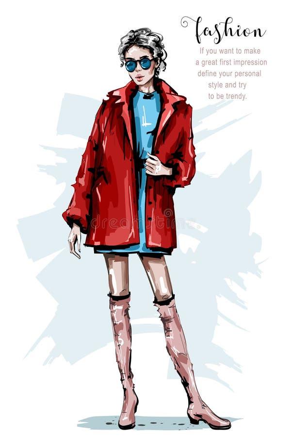Ręka rysująca piękna młoda kobieta w czerwonej kurtce eleganccy dziewczyna okulary przeciwsłoneczne Mody kobiety spojrzenie nakre ilustracja wektor