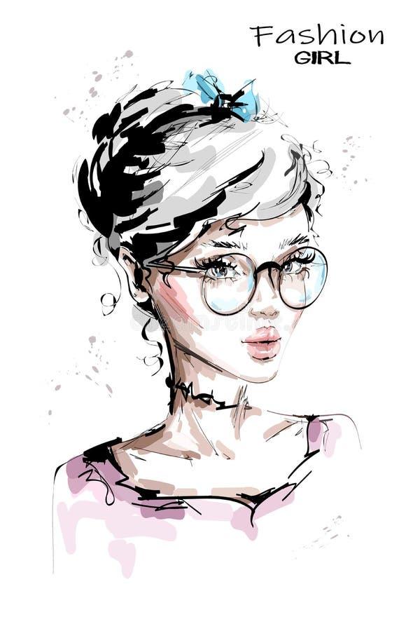 Ręka rysująca piękna młoda kobieta w eyeglasses Elegancka dziewczyna z łękiem w jej blondynka włosy Mody kobiety spojrzenie nakre ilustracja wektor