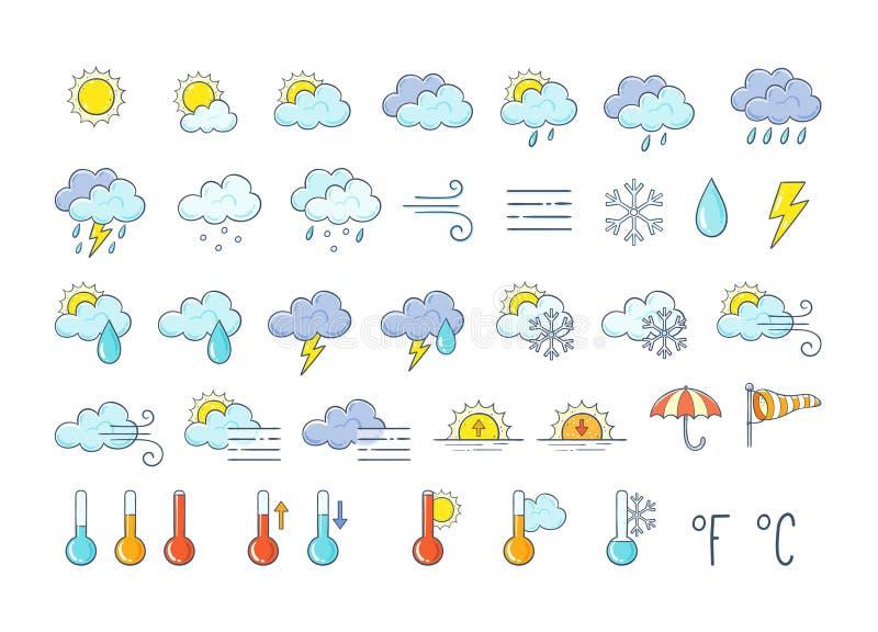 Ręka rysująca pogodowa ikony paczka ilustracja wektor