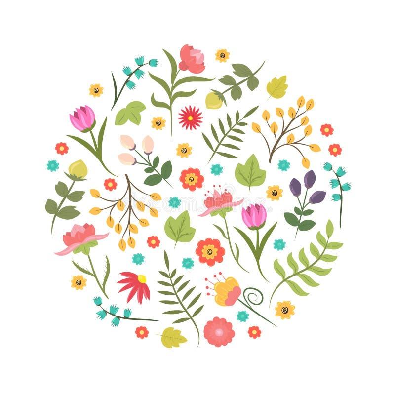 Ręka rysującego stylowego lata lub wiosna kwiecistego projekta logo w okręgu kształcie lub element Biznesowa tożsamość royalty ilustracja