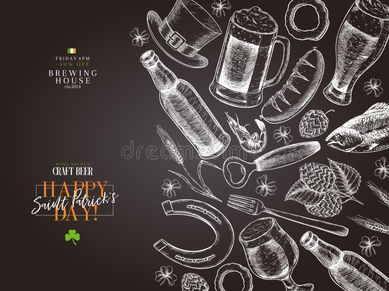 Ręka rysujący Świątobliwy Patrick dnia pubu plakat Piwo i przekąski Wektorowy szkło, butelka, otwieracz, podkowa, jęczmień, chmie royalty ilustracja