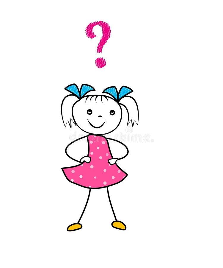 Ręka rysujący kreskówki dziewczyny główkowanie z znak zapytania Pytać decyzję doodle charakteru odizolowywającego na białym tle ilustracji