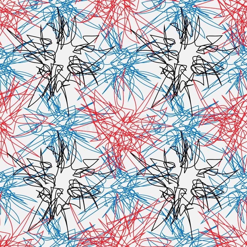 Ręka rysujący kreskowy bezszwowy wzór Doodle projekta element skrobaniny linia obrazy stock