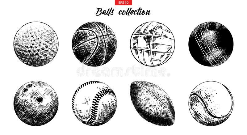 Ręka rysujący nakreślenie set sport piłki odizolowywać na białym tle Szczegółowa rocznik akwaforty kolekcja royalty ilustracja