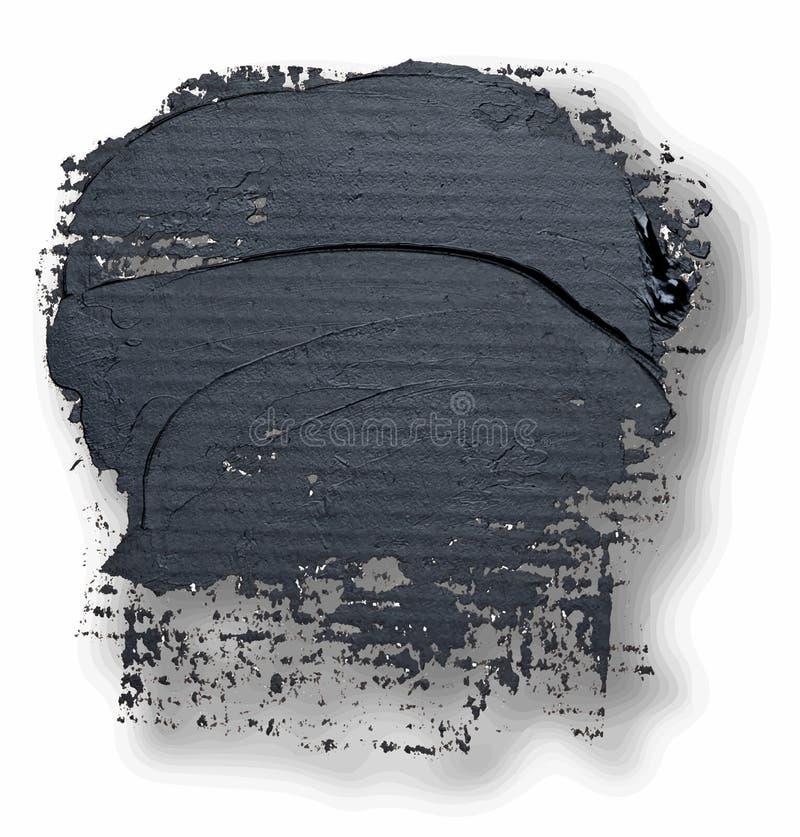 Ręka rysujący owalny textured czarny nafcianej farby muśnięcia uderzenie z cieniem ilustracji