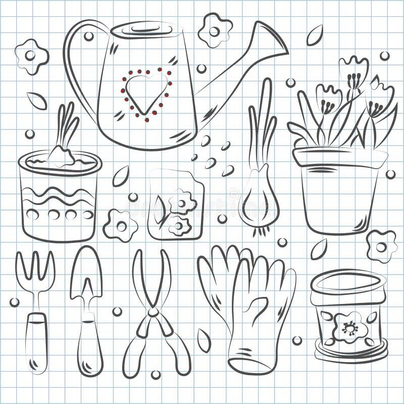 Ręka rysujący set ogrodowi narzędzia Rocznika atramentu rysunek royalty ilustracja