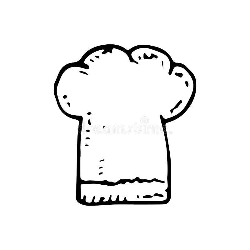 Ręka Rysujący szefa kuchni kapeluszowy doodle Nakreślenie stylowa ikona Dekoracja element pojedynczy białe tło Płaski projekt rów ilustracji