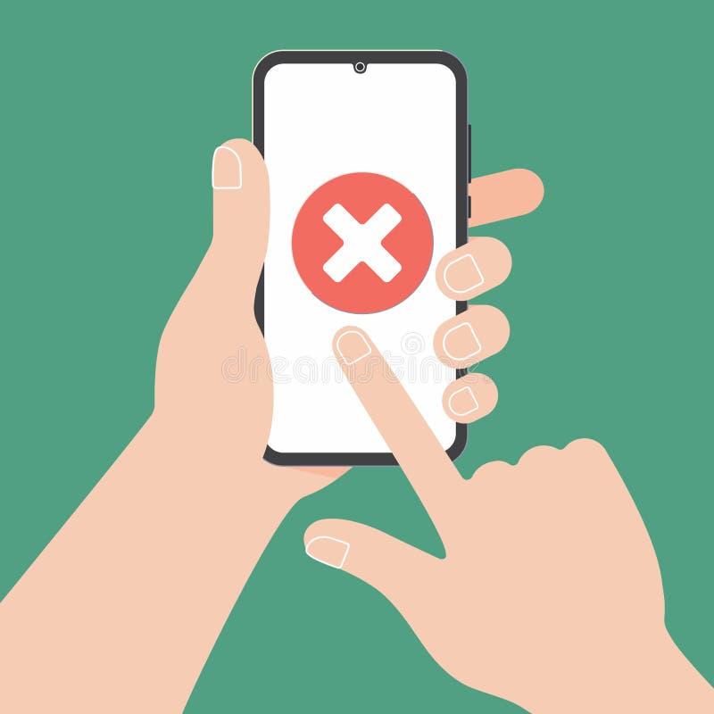Ręka trzyma czarnego telefon komórkowego z czek oceny krzyżem X na ekranie odizolowywającym na zielonym tle ilustracja wektor