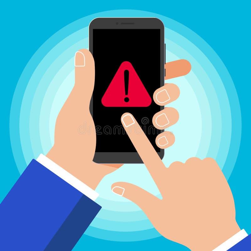Ręka trzyma czarnego telefon komórkowego z ostrzegawczego zawiadomienia symbolu ikony znakiem odizolowywającym na tle ilustracji