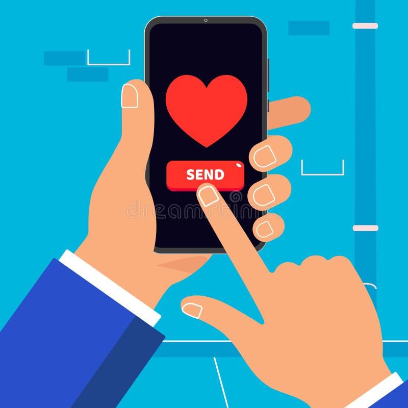 Ręka trzyma czarnego telefon komórkowego z sercem i guzik WYSYŁAMY symbol ikony znaka na ekranie odizolowywającym na ściennym tle ilustracji
