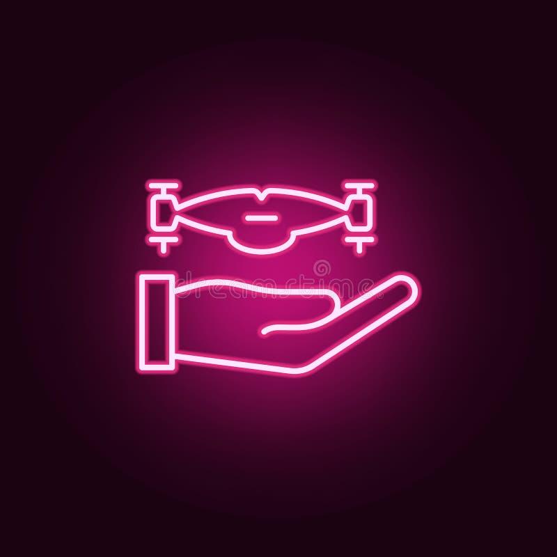 ręka z truteń ikoną Elementy trutnie w neonowych stylowych ikonach Prosta ikona dla stron internetowych, sieć projekt, mobilny ap ilustracji