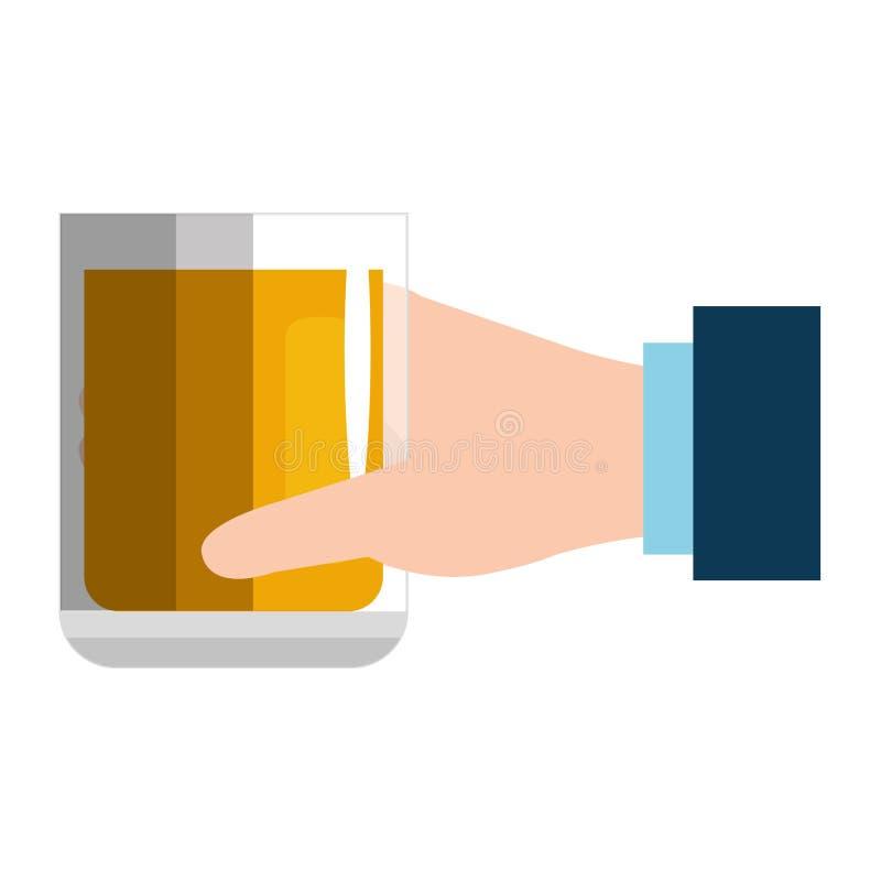 Ręka z whisky szklanym napojem royalty ilustracja
