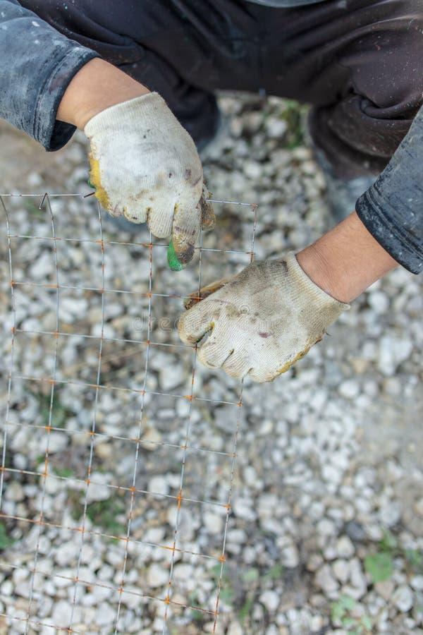 Rękawiczka na ręce budowniczy fotografia stock