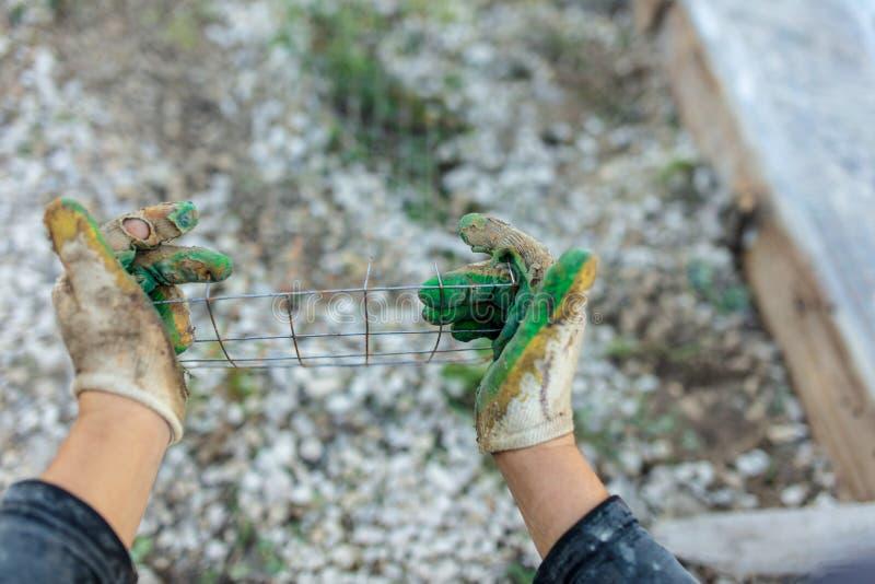 Rękawiczka na ręce budowniczy fotografia royalty free