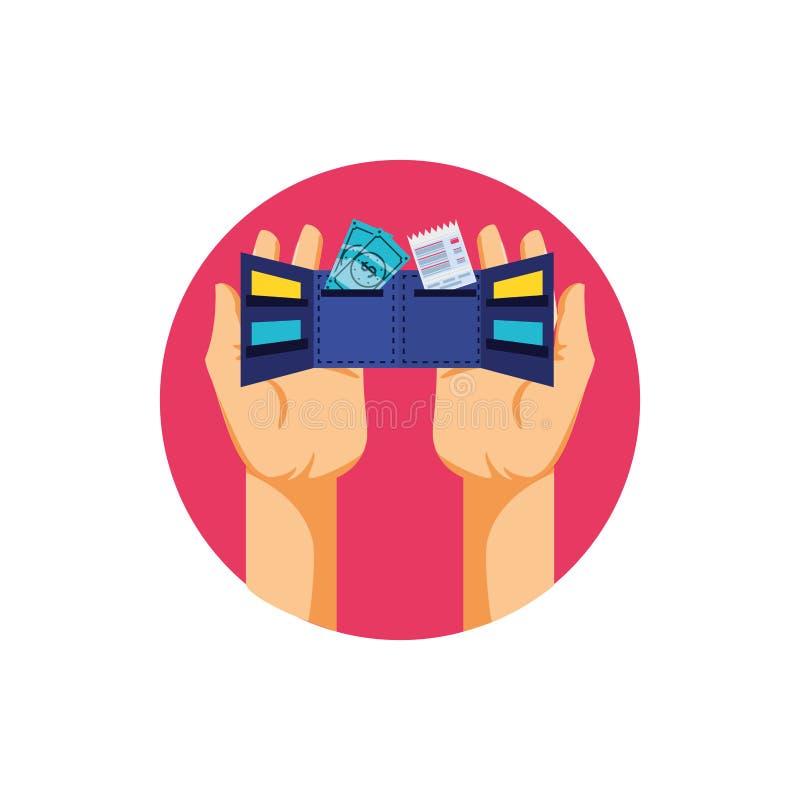 Ręki i portfla pieniądze z rachunkami ilustracji