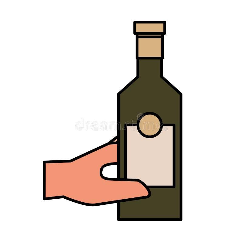 Ręki mienia butelki trunek odizolowywający projekt ilustracji