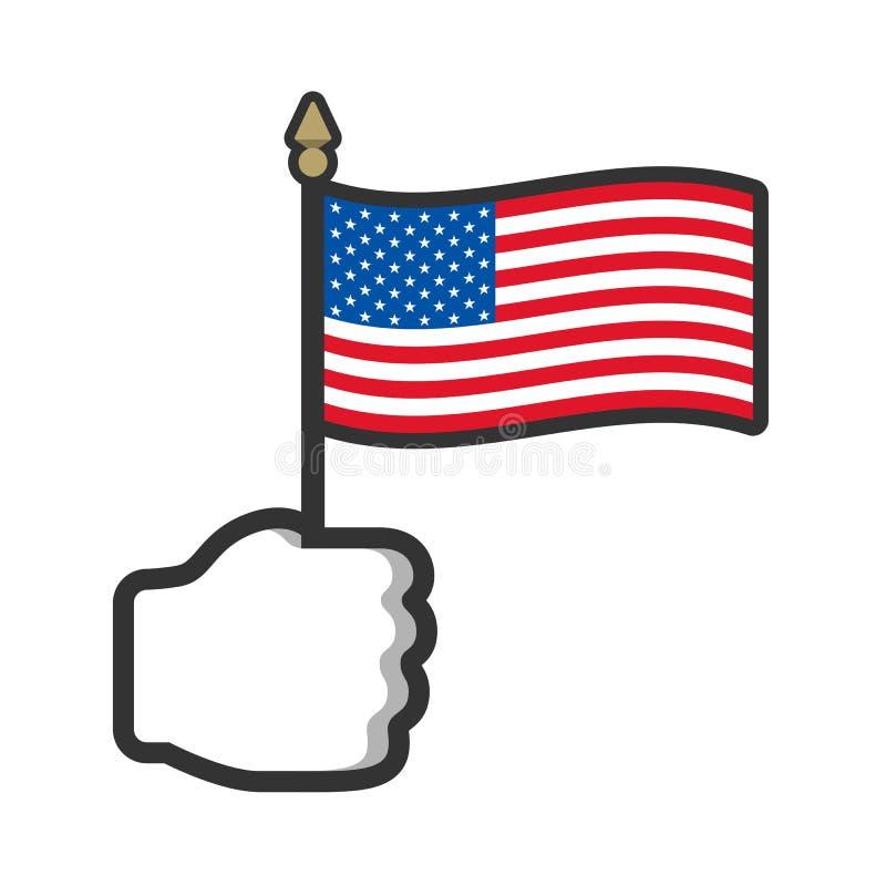 Ręki mienia usa flagi ikona ilustracja wektor